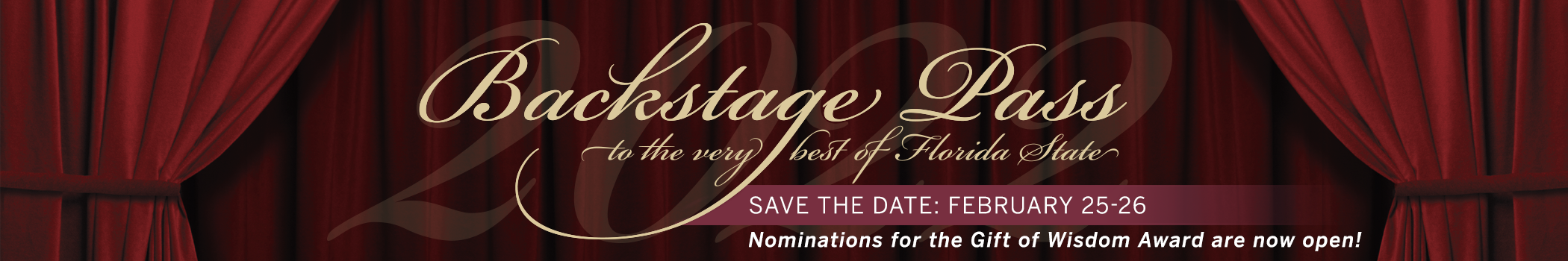 BSP logo on red curtain with text saying to save the date and nominations for gift of wisdom are now open.
