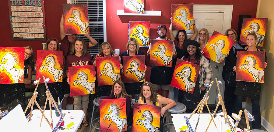 Image of Women for Florida State University Jacksonville regional group at Painting with a Twist event