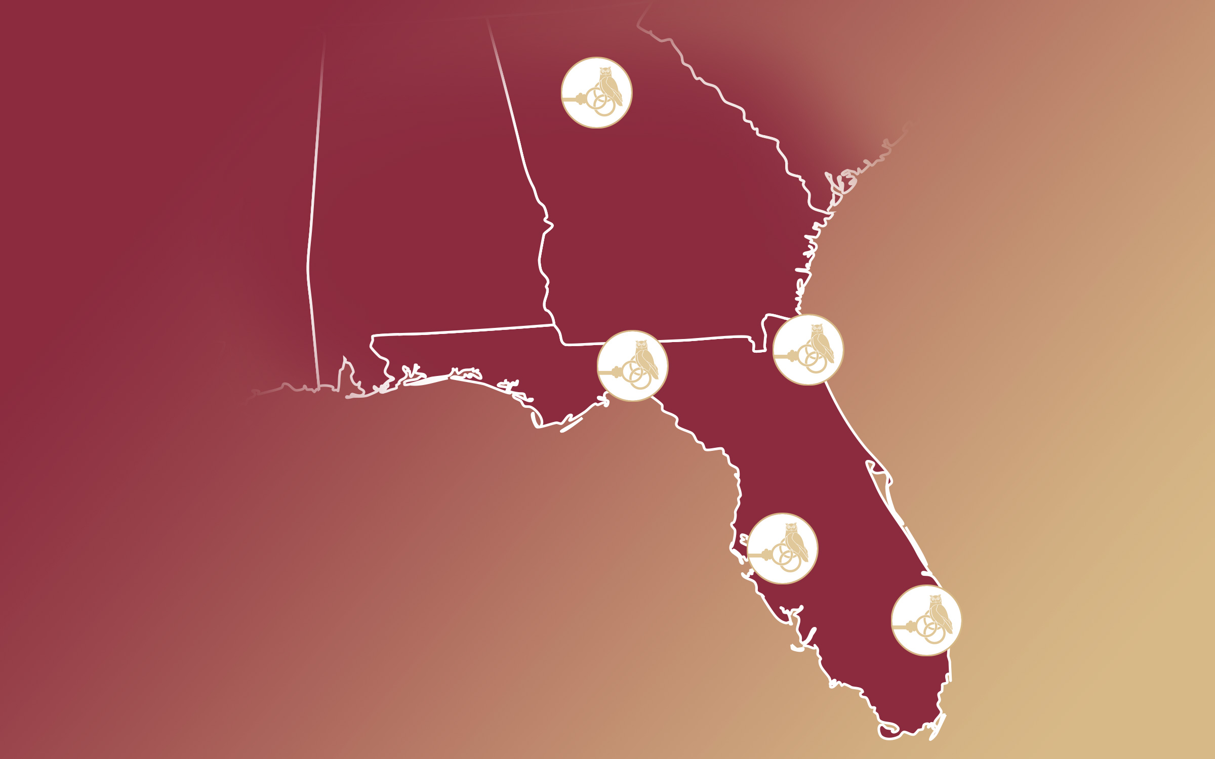 Banner image of the state of Florida featuring the owl and key logo