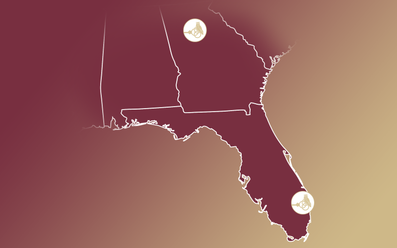 Regional map showing Atlanta and South Florida pinpoints